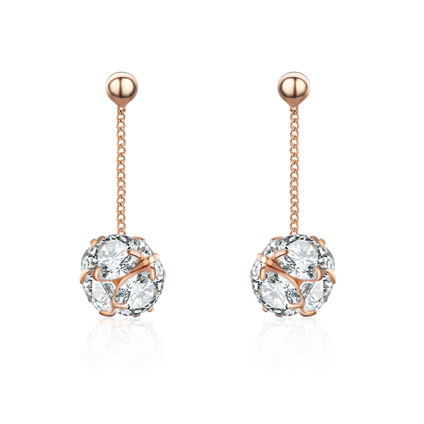 18k Rose Gold Plated Cubic Zirconia Drop Earrings 5cttw