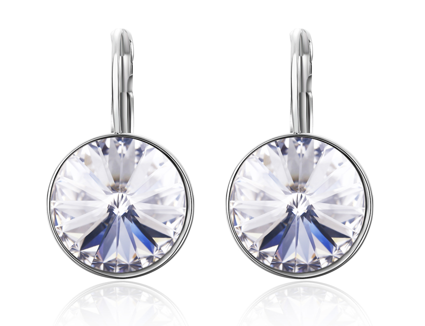 Sbling Rhodium Plated Leverback Drop Earrings Made With Swarovski Crystals 12 2 Cttw